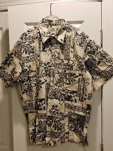 PARADISE-BAY-HAWAII-floral-Hawaiian-MENS-SHIRT-SIZE-XL-Blue
