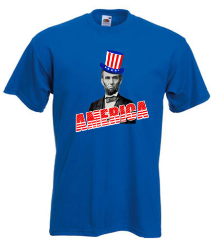 """Abraham Abe Lincoln 4th of July /""""AMERICA/"""" T-shirt  S-5XL"""