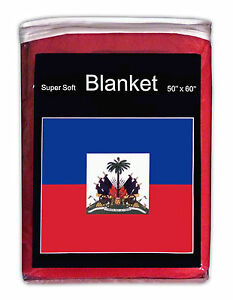"HAITI  FLAG FLEECE THROW BLANKET   50"" x 60""  - NEW LOWER PRICE FREE SHIPPING"