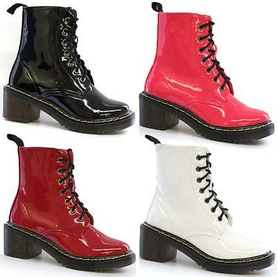 LADIES BIKER BOOTS WOMENS ANKLE RIDING ARMY FUNKY PUNK GOTH DOC MILITARY SHOES