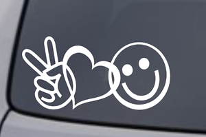 PEACE LOVE HAPPINESS Vinyl Decal Sticker Car Window Wall Laptop Heart Symbol