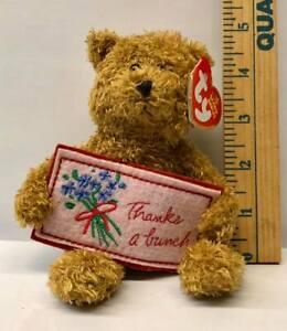 "TY Original Beanie Babies - Teddy Bear holding ""Thanks A Bunch"" Sign  NWT"