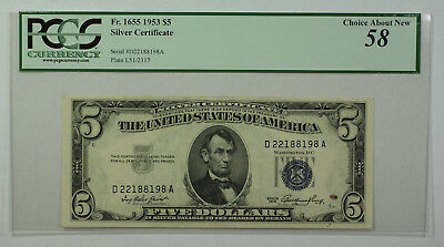 1953 $5 Silver Certificate FR 1655 Uncirculated
