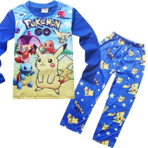 Boys Pokemon Pikachu Pajamas 2-Piece Top /& Bottom Set Pants /& Shirt  O58C