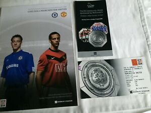 Chelsea v Manchester United x 1 Tickets Community Shield 2009 Football Programme