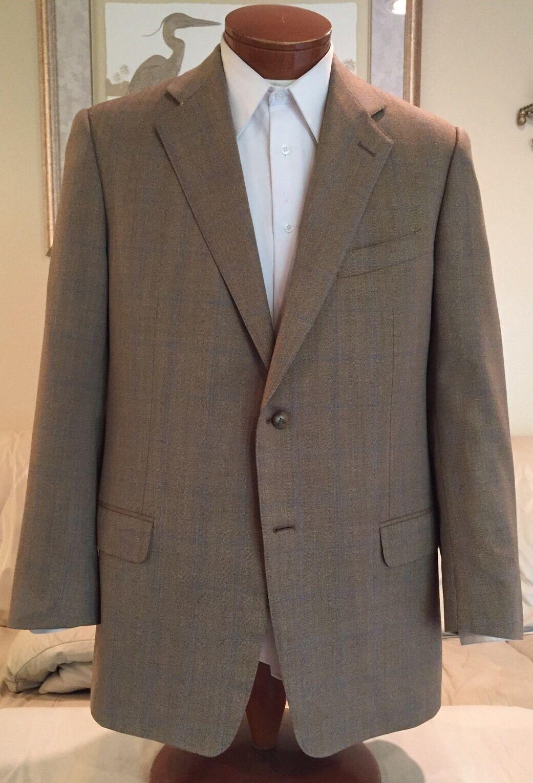 92b061e96 Ermenegildo Zegna Mens Beige Plaid Wool Blazer Sz 44 L. Hugo Boss Italian  Guabello ...