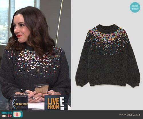 Med Blogger 103 Sjælden Kvinder Favorit Zara 9667 Farvede Bnwt Sequins Sweater wSUna