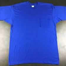 True Vintage 80s Deadstock 5050 Brand Blue Cotton Poly Blend T-Shirt w Pocket XL