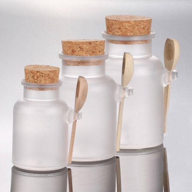 100G 200G 300G Bath Salt Powder Cork Seasoning Sauce Cruet Spoon ABS Plastic Jar