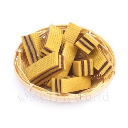 12 Dollhouse miniature candy wafers small basket