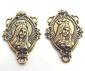 Two-2-Gold-Tone-Pewter-IMMACULATE-HEART-OF-MARY-Rosary-Connectors-5083