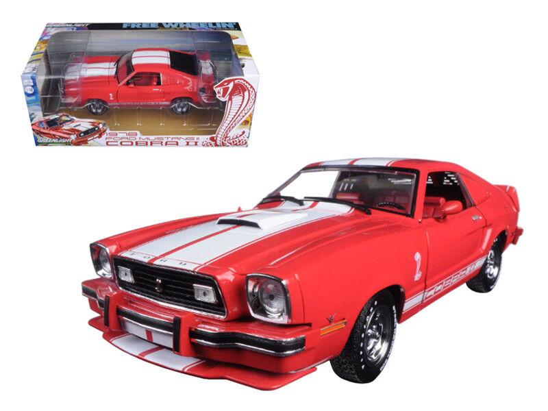 1 18 Greenlight Free Wheelin Movie 1978 Ford Mustang II Cobra II Model Red 12940