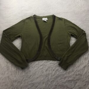 Soft-Surroundings-Women-039-s-Size-XS-Cropped-Cardigan-Sweater-Green-Wool-Blend