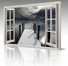 "LARGE 20x30"" BLACK & WHITE WATER PIER CLOUDS WINDOW CANVAS WALL ART PICTURE"