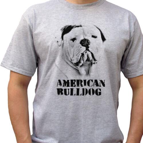 American Bulldog grey t shirt top tee dog design mens sizes
