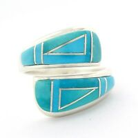 Calvin Begay Sterling Silver Ladies Turquoise Ring Size 8 --- R28 K