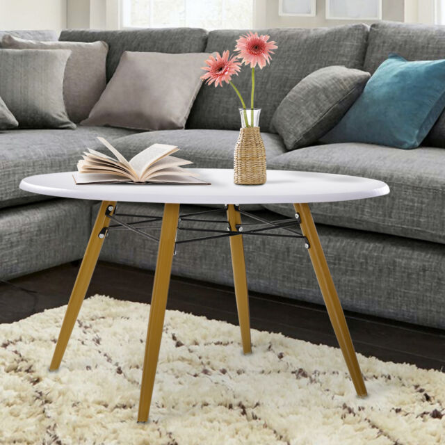 Large Wooden Coffee Table White Modern Side End Tables Storage Shelf Furniture For Sale Ebay