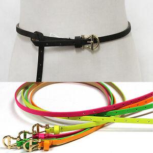 Fashion Womens Skinny Gold Metal Buckle Belts Thin Waist Hip Adjustable