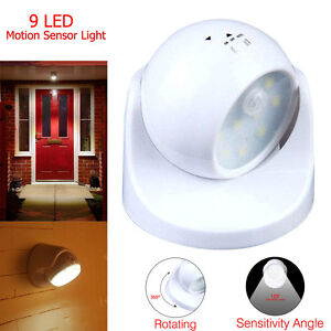 9-LED-Motion-Activated-Cordless-Sensor-Light-360-Home-Outdoor-Garden-Patio-NE