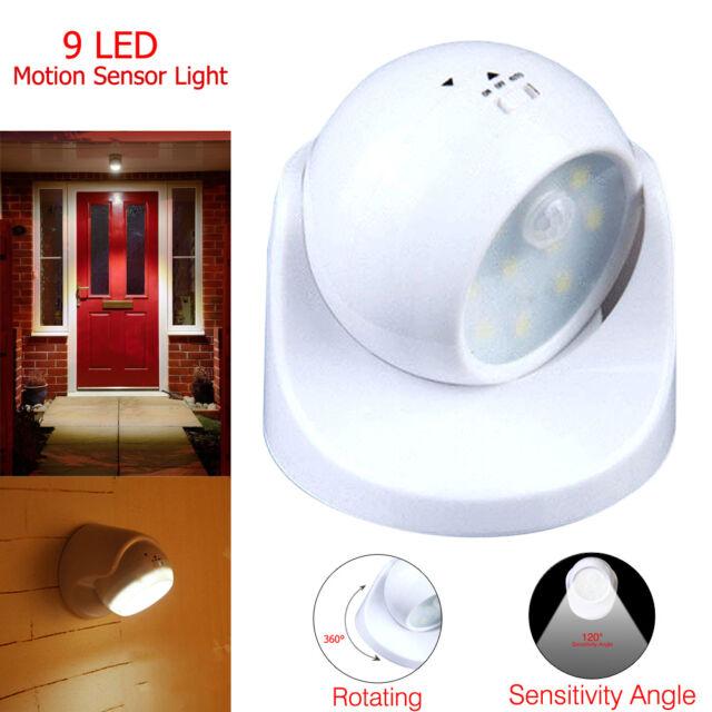 9 LED Motion Activated Cordless Sensor Light 360° Home Outdoor Garden Patio C8