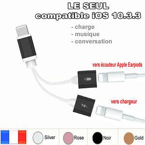 adaptateur cable iphone 7 7 vers chargeur prise pour couteur earpods charger ebay. Black Bedroom Furniture Sets. Home Design Ideas