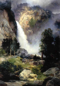 Oil-Thomas-Moran-Cascade-FAlls-Yosemite-beautiful-landscape-waterfall-canvas