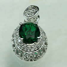 18K White Gold Filled Big Emerald 4.1 Ct CZ Women Fashion Necklace Pendant P3082