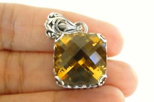 Ornate-Golden-Yellow-Citrine-Solitaire-925-Sterling-Silver-Pendant