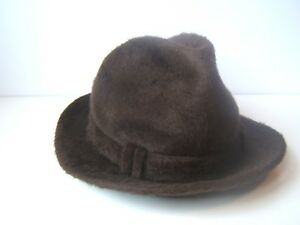 Details about Vintage Biltmore Fedora Panda Feather Hat Brown 54cm Fitted  Cap Made Canada