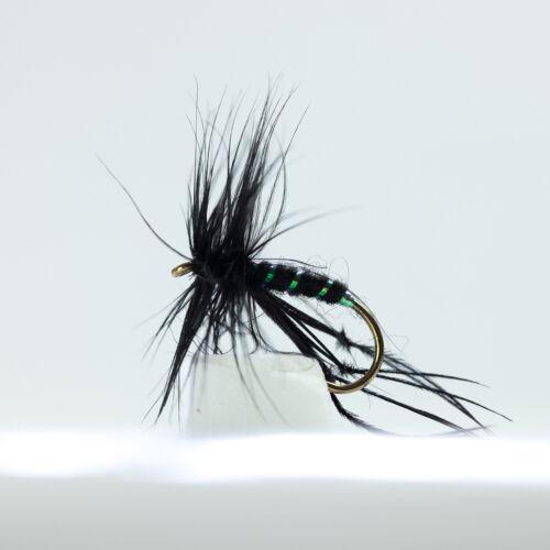 12 x Bristol Hopper Dry Flies Black Mixed Sizes 10,12,14,16  By Dragonflies