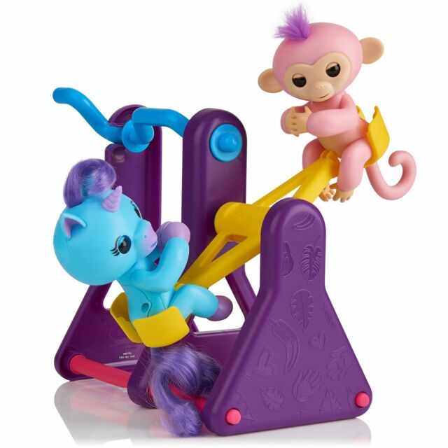 FINGERLINGS Monkey Coral & Unicorn Callie See Saw Teeter Totter Play Set NEW