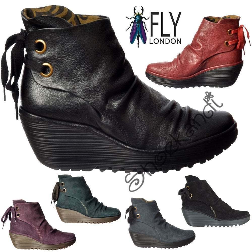 Womens Fly London Yama Pull On Ankle Boots Suede Low Purple Anthracite Black New