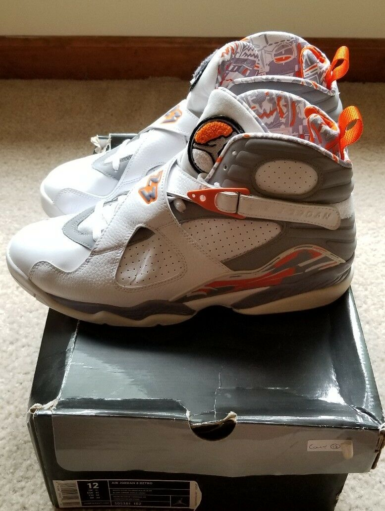 Nike Air Jordan 8 Retro Size 12 White Stealth Grey  orange  (305381 102)