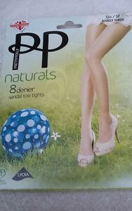 30bb99495b2 Pretty Polly Naturals 8 Denier Sandal Toe Tights - Size SM Barely There