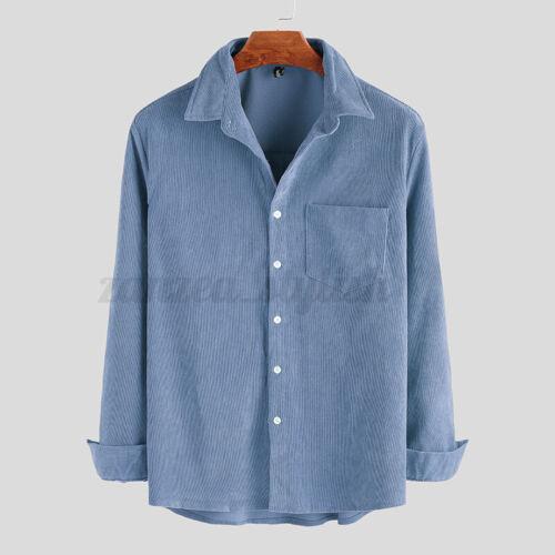 INCERUN Mens Corduroy Long Sleeve Shirt Formal Smart T Shirt Blouse Warm Tee Top