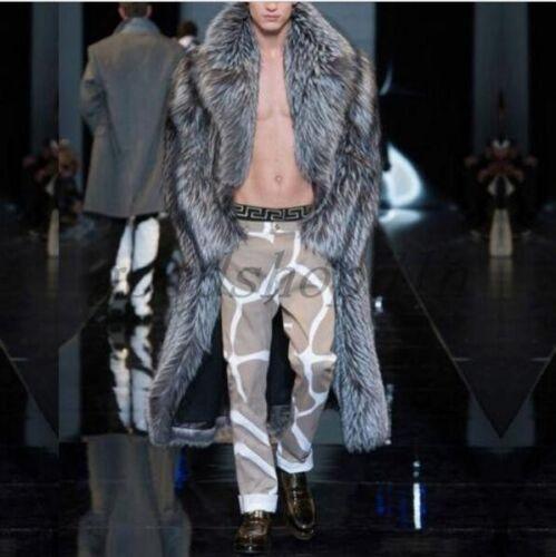 Fashion Winter Men Fur Long Jacket Lapel Trench Coat Outwear Warm Parka Overcoat