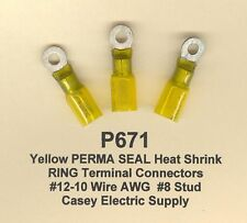 10 Yellow PERMA SEAL Heat Shrink RING Terminal Connector 12-10 Wire #8 Std MOLEX