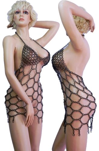 in Catsuit Dress Abito Gotico gotica sera da Clup tuta Mesh Wow Chains gomma ZTqSppH