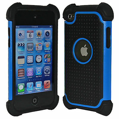 DELUXE PROTECTOR BLUE HARD SILICONE SKIN CASE COVER FOR IPOD TOUCH 4 4G 4TH GEN