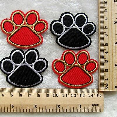4pcs Paw Print Embroidered Iron/Sew On Patch Motif Appliqué Kids Gifts
