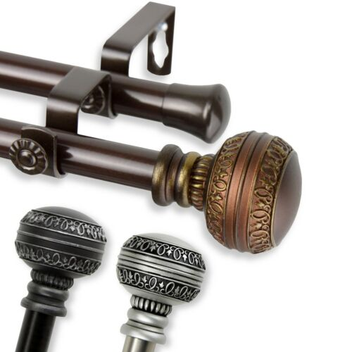 """*Double Curtain Rod* 3/4"""" OD #02 choose from 3 colors, 28-170"""