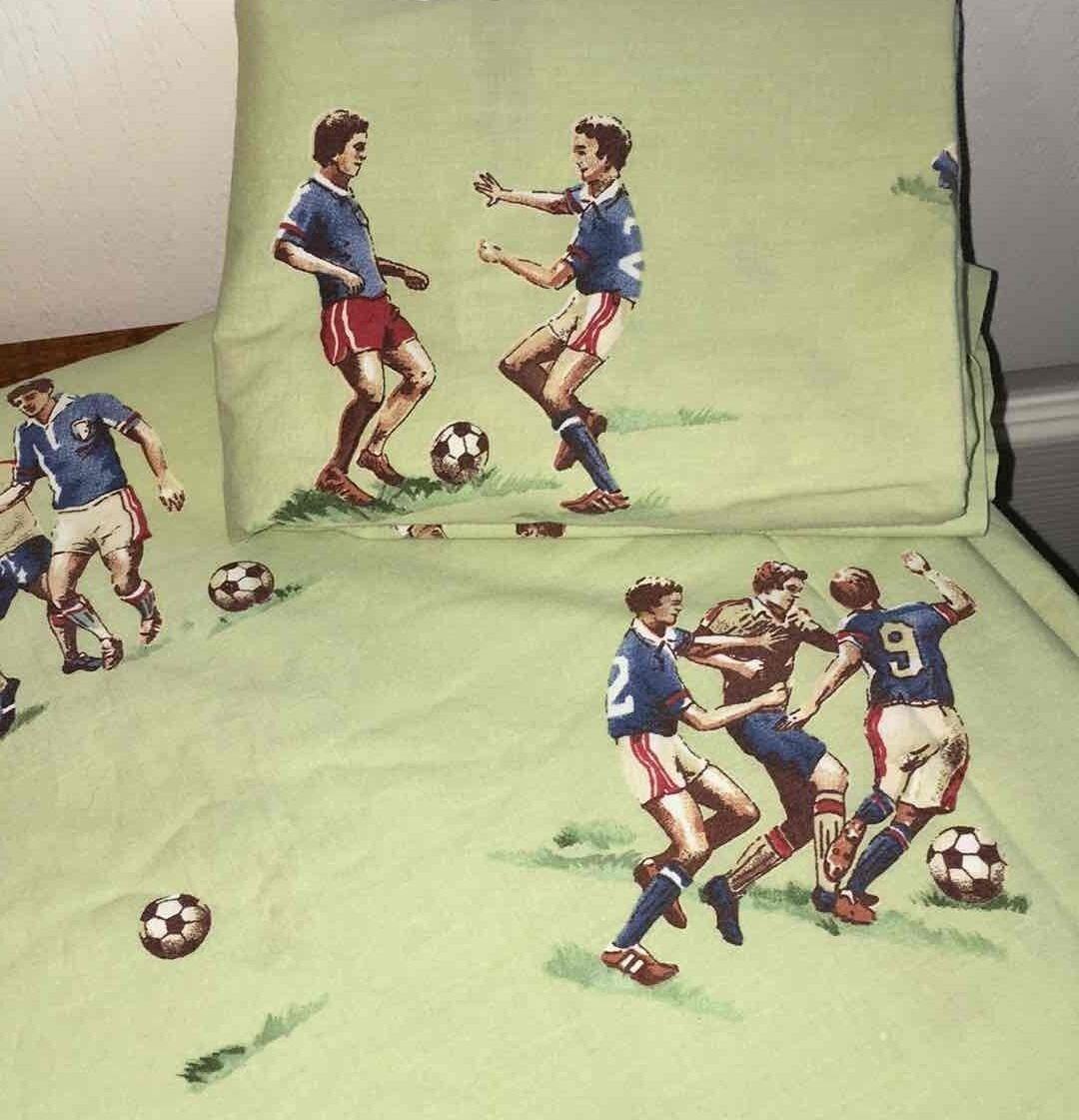 Pottery Barn Kids Soccer TWIN Duvet+Pillow Sham vert 100% Cotton Team Sports