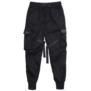 Mens Casual Pocket Cargo Loose Harem Trousers Baggy Punk Pants Military Overalls