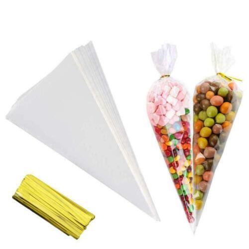 Cellophane Cone Candy Bag Hochzeit begünstigt Geburtstagsfeier Dekoration J5X2