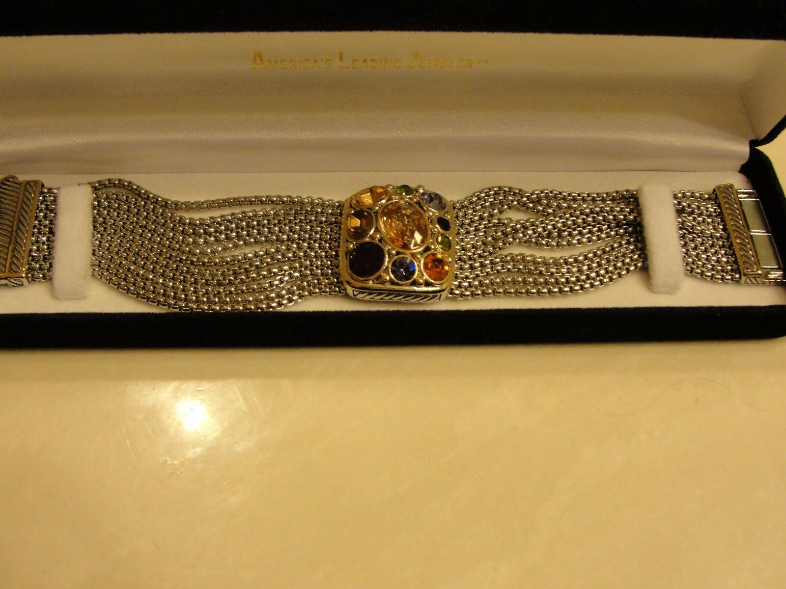 New Super Quality Rhodium Designer Style Heavy Bracelet w  Gemstones
