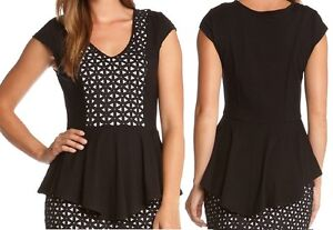 Karen-Kane-4L14186-Black-White-Cutout-Front-Peplum-Stretch-Jersey-Top-88