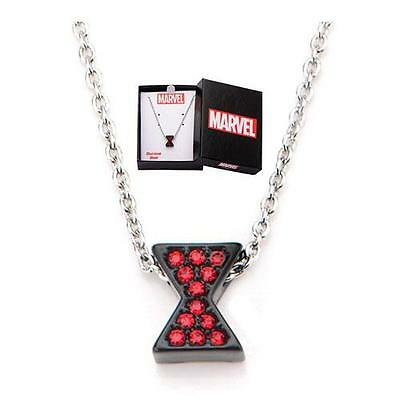 MARVEL Comics Licensed BLACK WIDOW Icon Logo BLING Gem NECKLACE Pendant AVENGERS