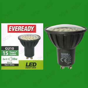 10x-3W-35W-Eveready-Led-Ultra-bajo-Consumo-Instant-On-GU10-Foco-Lampara