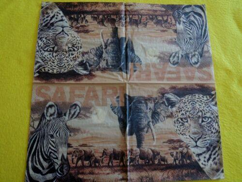 1 Packung SAFARI 20 Servietten Sergenti elefanten ZEBRA afrika Leoparden 1//2 OVP