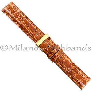 18mm-Milano-Honey-Heavily-Padded-Stitched-Genuine-Crocodile-Mens-Band-Reg-992